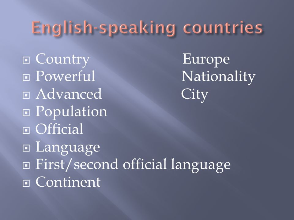  Country Europe  Powerful Nationality  Advanced City  Population  Official  Language  First/second official language  Continent