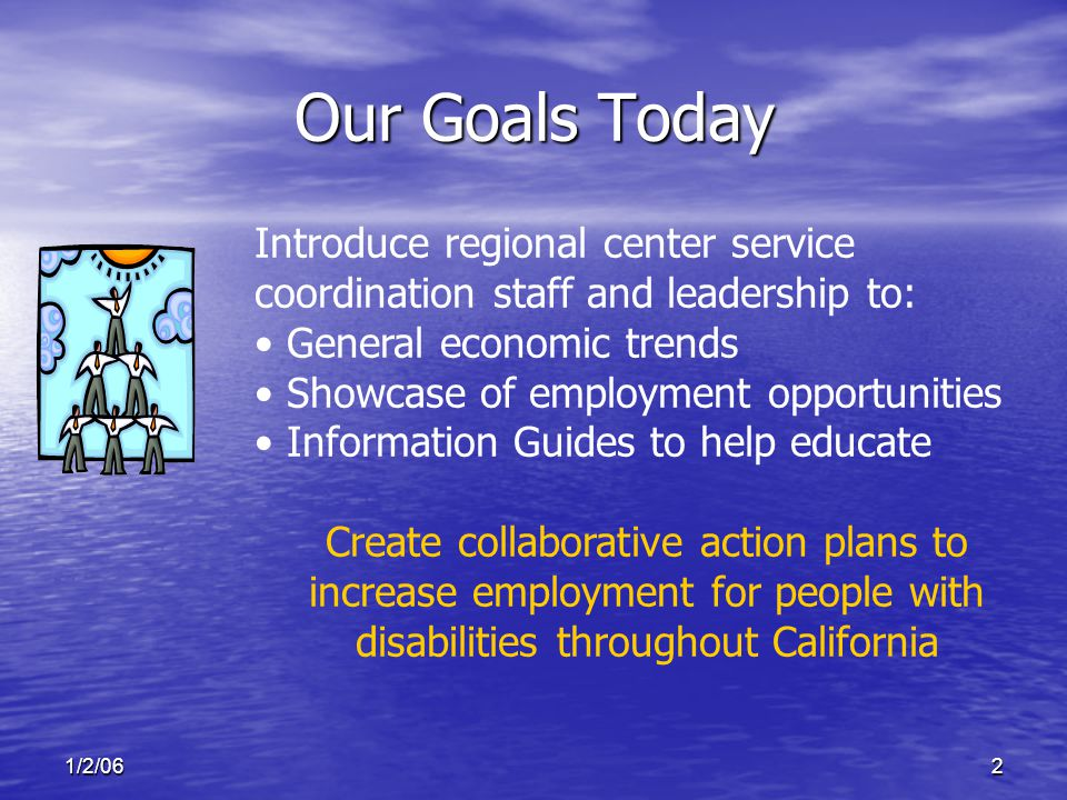 1/2/062 Our Goals Today Introduce regional center service coordination staff and leadership to: General economic trends Showcase of employment opportunities Information Guides to help educate Create collaborative action plans to increase employment for people with disabilities throughout California