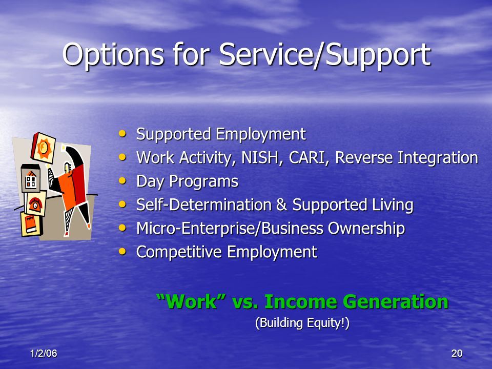 1/2/0620 Options for Service/Support Supported Employment Supported Employment Work Activity, NISH, CARI, Reverse Integration Work Activity, NISH, CARI, Reverse Integration Day Programs Day Programs Self-Determination & Supported Living Self-Determination & Supported Living Micro-Enterprise/Business Ownership Micro-Enterprise/Business Ownership Competitive Employment Competitive Employment Work vs.