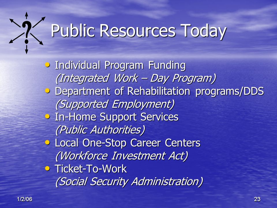 1/2/0623 Public Resources Today Individual Program Funding Individual Program Funding (Integrated Work – Day Program) Department of Rehabilitation programs/DDS Department of Rehabilitation programs/DDS (Supported Employment) In-Home Support Services In-Home Support Services (Public Authorities) Local One-Stop Career Centers Local One-Stop Career Centers (Workforce Investment Act) Ticket-To-Work Ticket-To-Work (Social Security Administration)