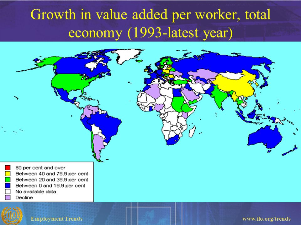 Employment Trendswww.ilo.org/trends Growth in value added per worker, total economy (1993-latest year)