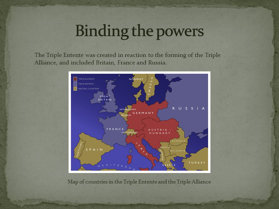 The Triple Entente was created in reaction to the forming of the Triple Alliance, and included Britain, France and Russia.