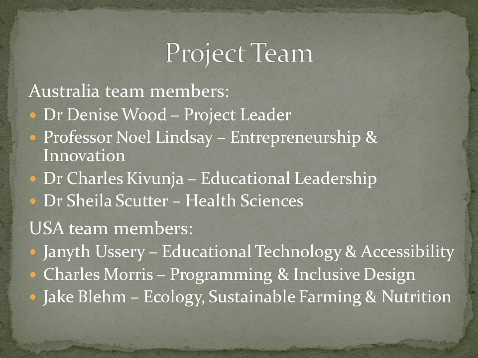Australia team members: Dr Denise Wood – Project Leader Professor Noel Lindsay – Entrepreneurship & Innovation Dr Charles Kivunja – Educational Leadership Dr Sheila Scutter – Health Sciences USA team members: Janyth Ussery – Educational Technology & Accessibility Charles Morris – Programming & Inclusive Design Jake Blehm – Ecology, Sustainable Farming & Nutrition