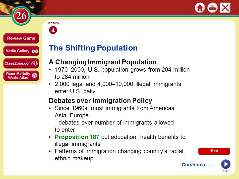 NEXT 4 SECTION A Changing Immigrant Population 1970–2000, U.S.