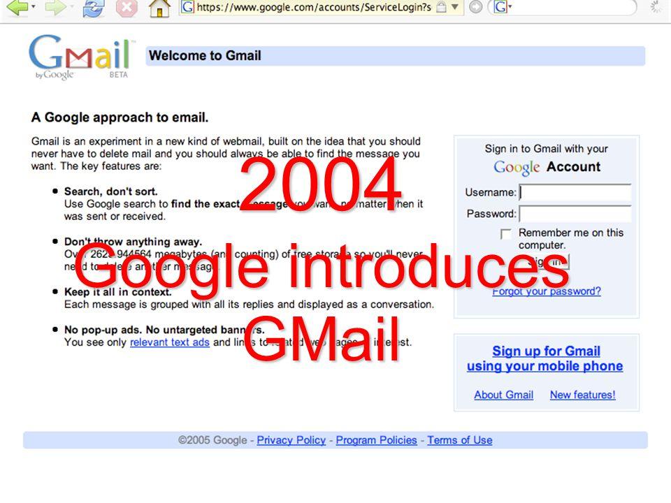2004 Google introduces GMail