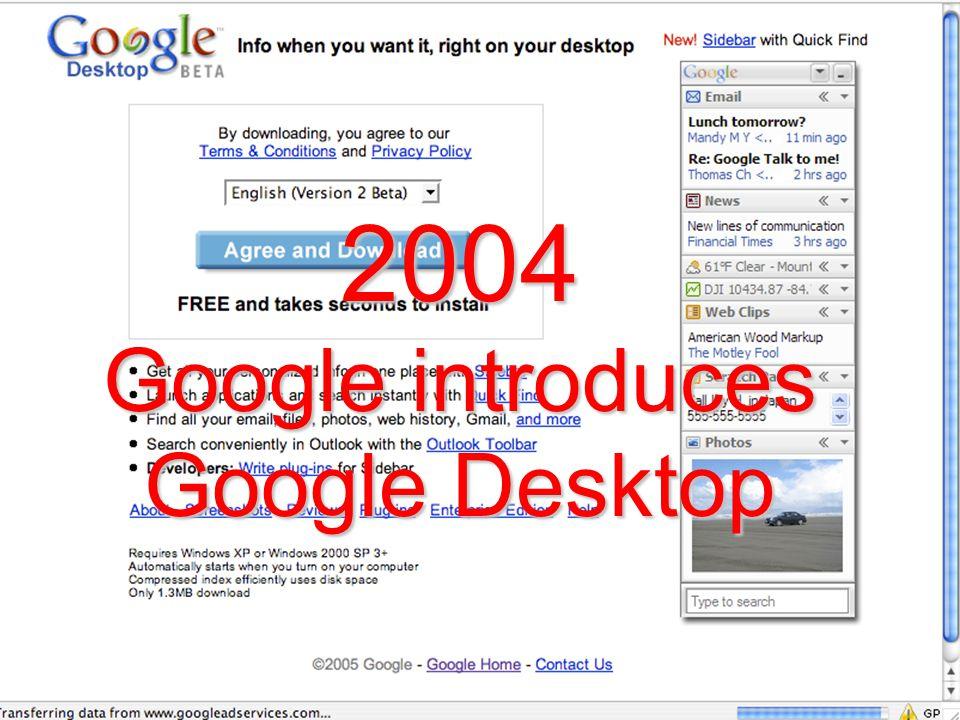 2004 Google introduces Google Desktop
