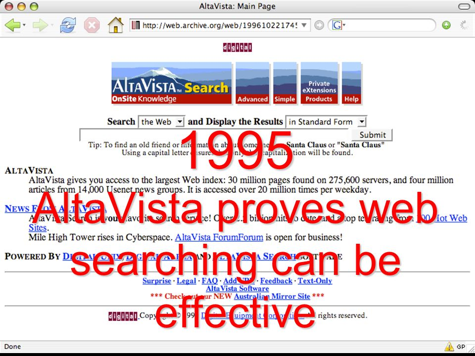 1995 AltaVista proves web searching can be effective
