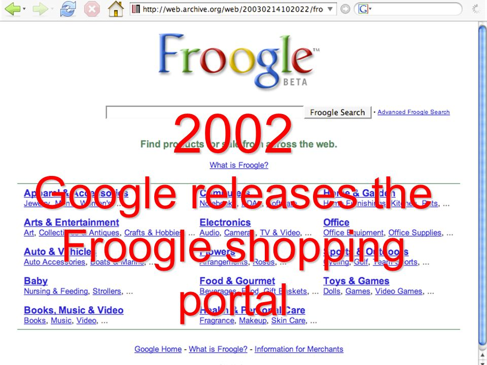 2002 Google releases the Froogle shopping portal