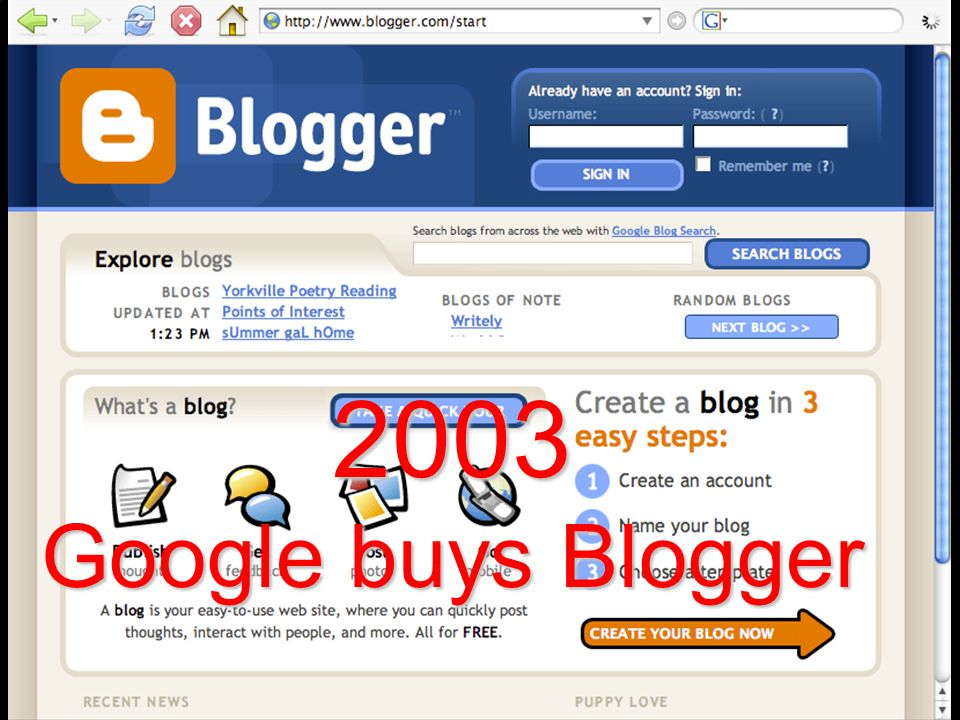 2003 Google buys Blogger