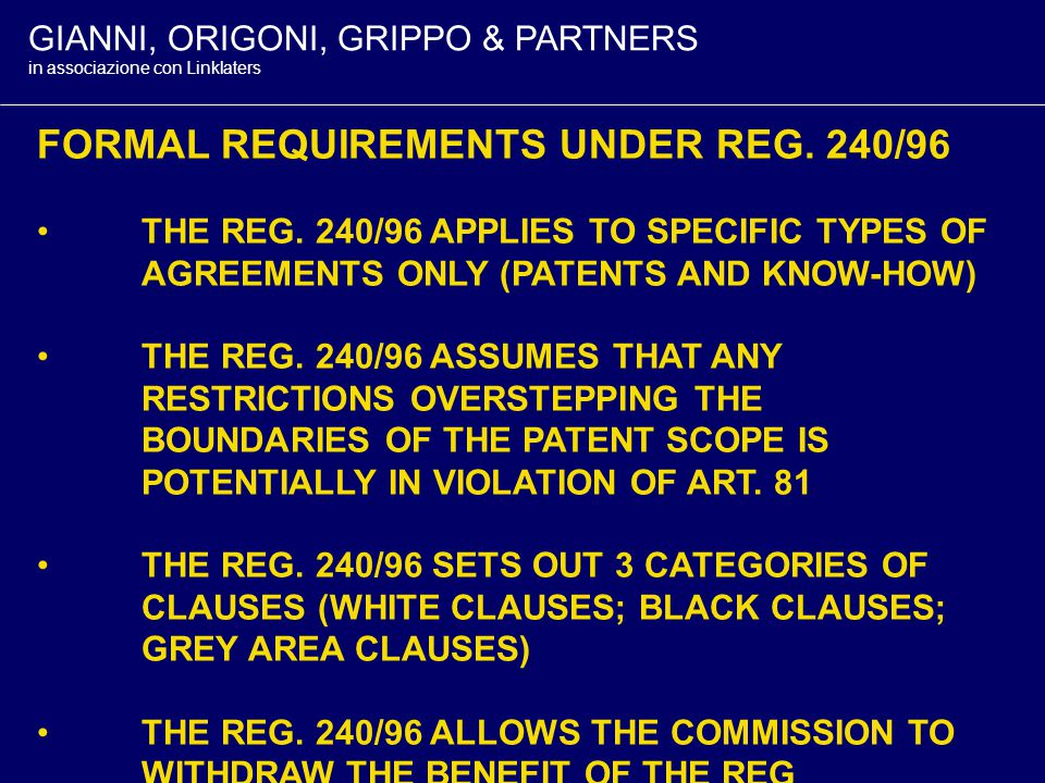 GIANNI, ORIGONI, GRIPPO & PARTNERS in associazione con Linklaters THE AIM OF REG.
