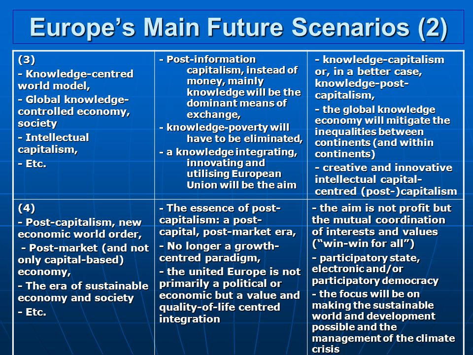 Europe's Main Future Scenarios (2) (3) - Knowledge-centred world model, - Global knowledge- controlled economy, society - Intellectual capitalism, - Etc.