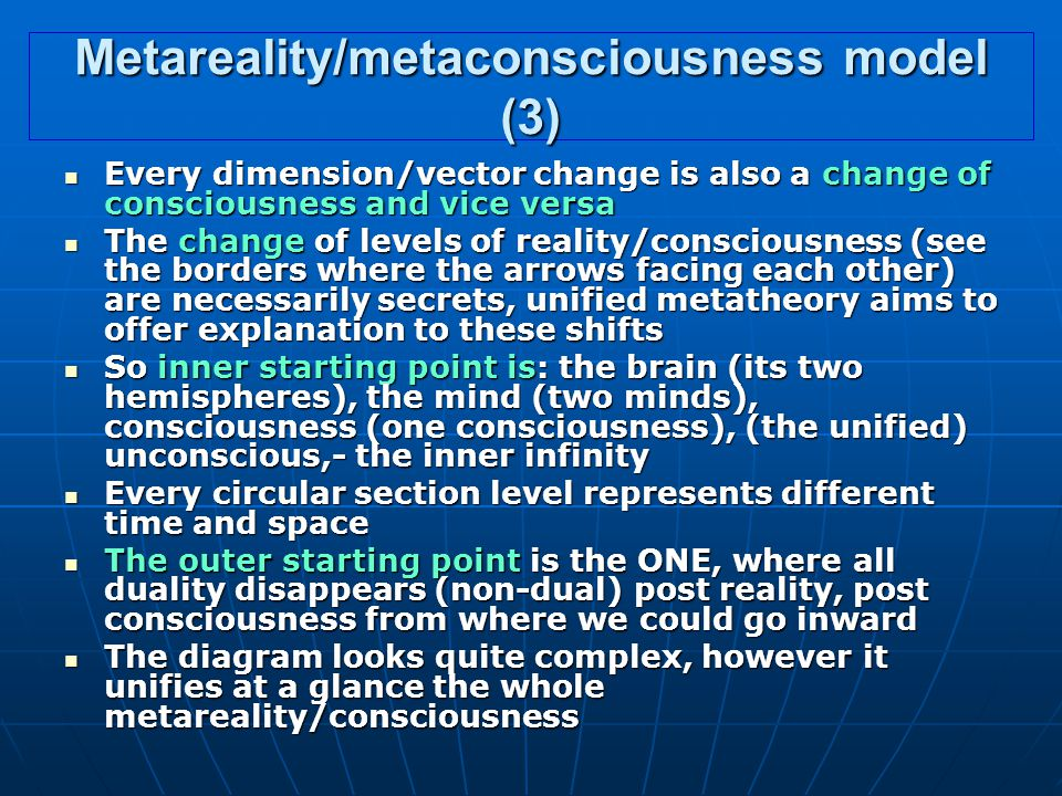 Metareality/metaconsciousness model (3) Every dimension/vector change is also a change of consciousness and vice versa Every dimension/vector change is also a change of consciousness and vice versa The change of levels of reality/consciousness (see the borders where the arrows facing each other) are necessarily secrets, unified metatheory aims to offer explanation to these shifts The change of levels of reality/consciousness (see the borders where the arrows facing each other) are necessarily secrets, unified metatheory aims to offer explanation to these shifts So inner starting point is: the brain (its two hemispheres), the mind (two minds), consciousness (one consciousness), (the unified) unconscious,- the inner infinity So inner starting point is: the brain (its two hemispheres), the mind (two minds), consciousness (one consciousness), (the unified) unconscious,- the inner infinity Every circular section level represents different time and space Every circular section level represents different time and space The outer starting point is the ONE, where all duality disappears (non-dual) post reality, post consciousness from where we could go inward The outer starting point is the ONE, where all duality disappears (non-dual) post reality, post consciousness from where we could go inward The diagram looks quite complex, however it unifies at a glance the whole metareality/consciousness The diagram looks quite complex, however it unifies at a glance the whole metareality/consciousness