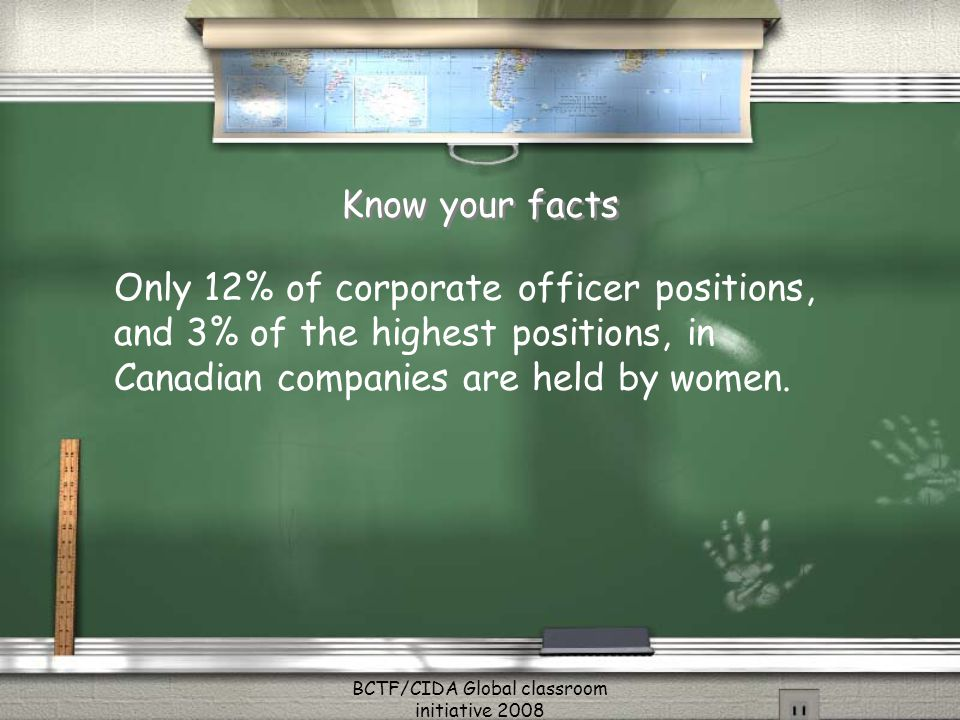 Know your facts Only 12% of corporate officer positions, and 3% of the highest positions, in Canadian companies are held by women.