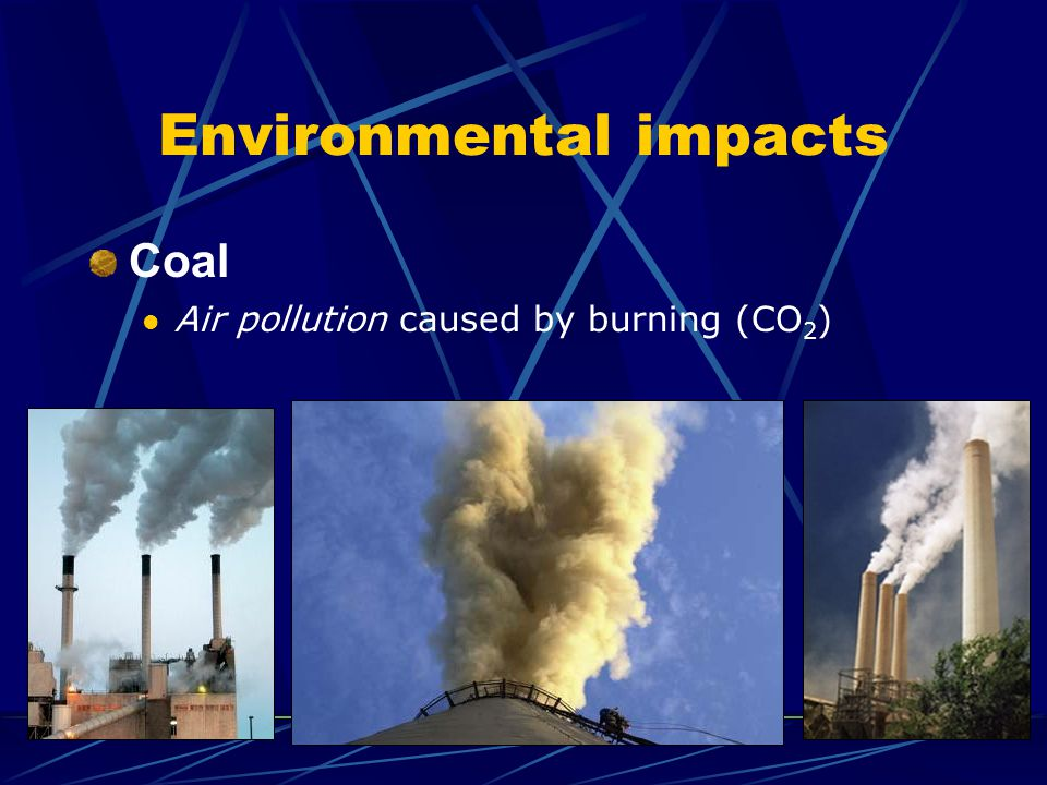 Environmental impacts Coal Air pollution caused by burning (CO 2 )