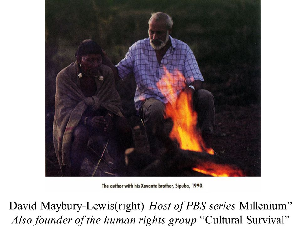 "David Maybury-Lewis(right) Host of PBS series Millenium"" Also founder of the human rights group ""Cultural Survival"""