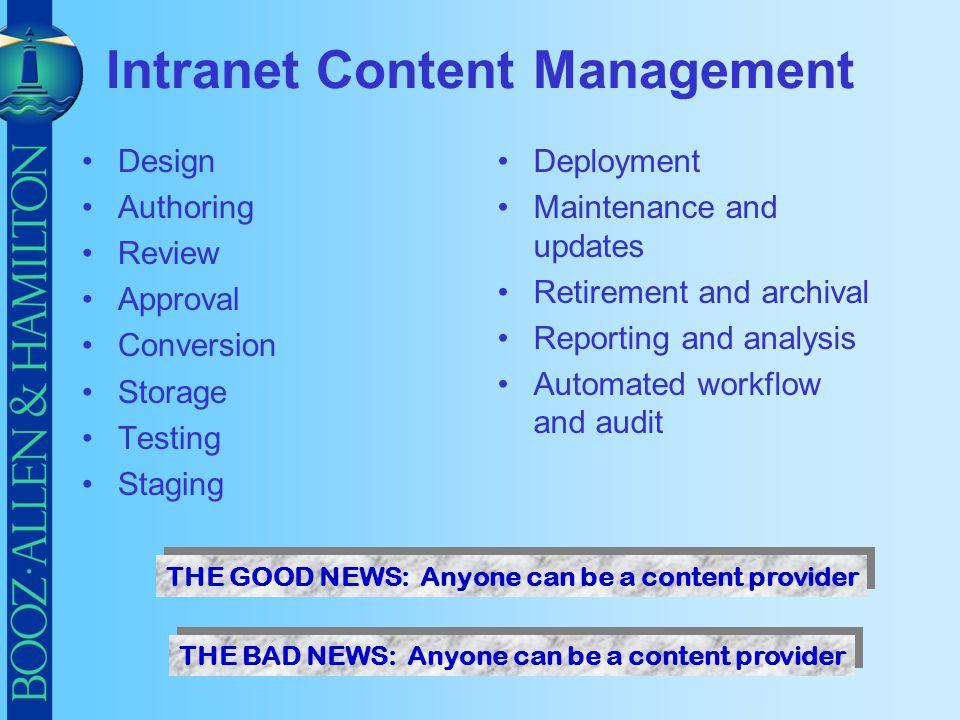 Intranet Content Management Design Authoring Review Approval Conversion Storage Testing Staging Deployment Maintenance and updates Retirement and arch