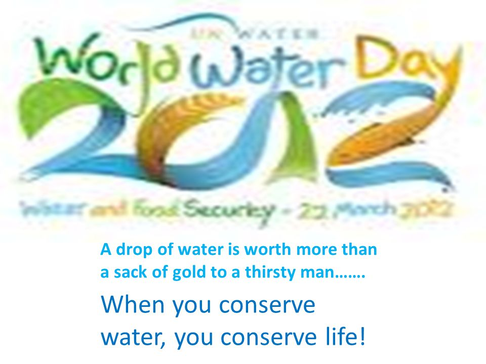 A drop of water is worth more than a sack of gold to a thirsty man……. When you conserve water, you conserve life!