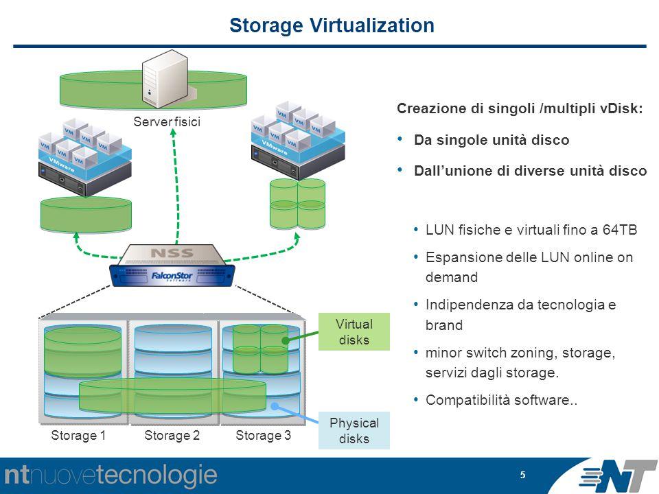 5 Storage Virtualization Creazione di singoli /multipli vDisk: Da singole unità disco Dall'unione di diverse unità disco LUN fisiche e virtuali fino a 64TB Espansione delle LUN online on demand Indipendenza da tecnologia e brand minor switch zoning, storage, servizi dagli storage.