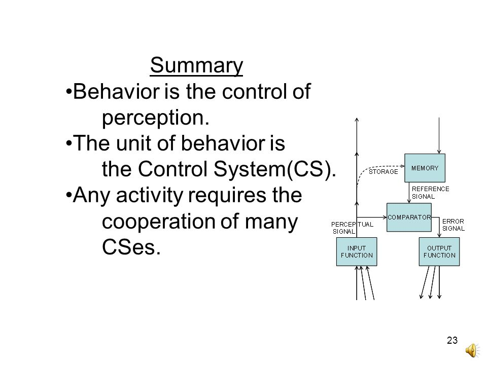 23 Summary Behavior is the control of perception. The unit of behavior is the Control System(CS). Any activity requires the cooperation of many CSes.