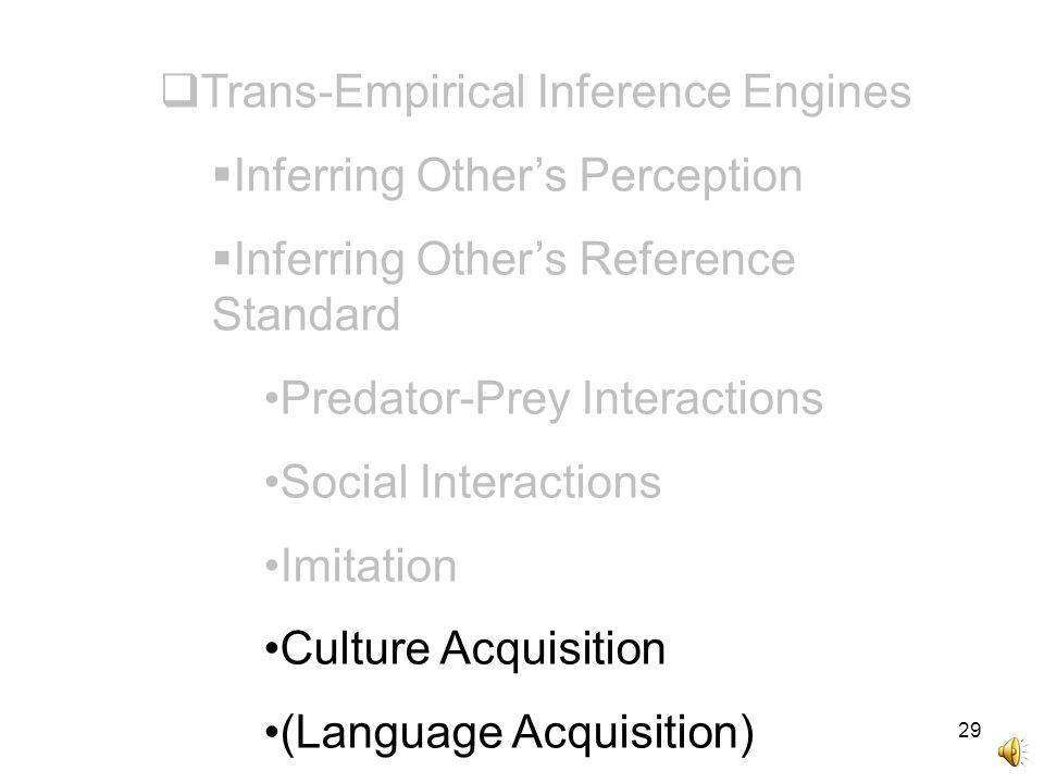 29  Trans-Empirical Inference Engines  Inferring Other's Perception  Inferring Other's Reference Standard Predator-Prey Interactions Social Interactions Imitation Culture Acquisition (Language Acquisition)