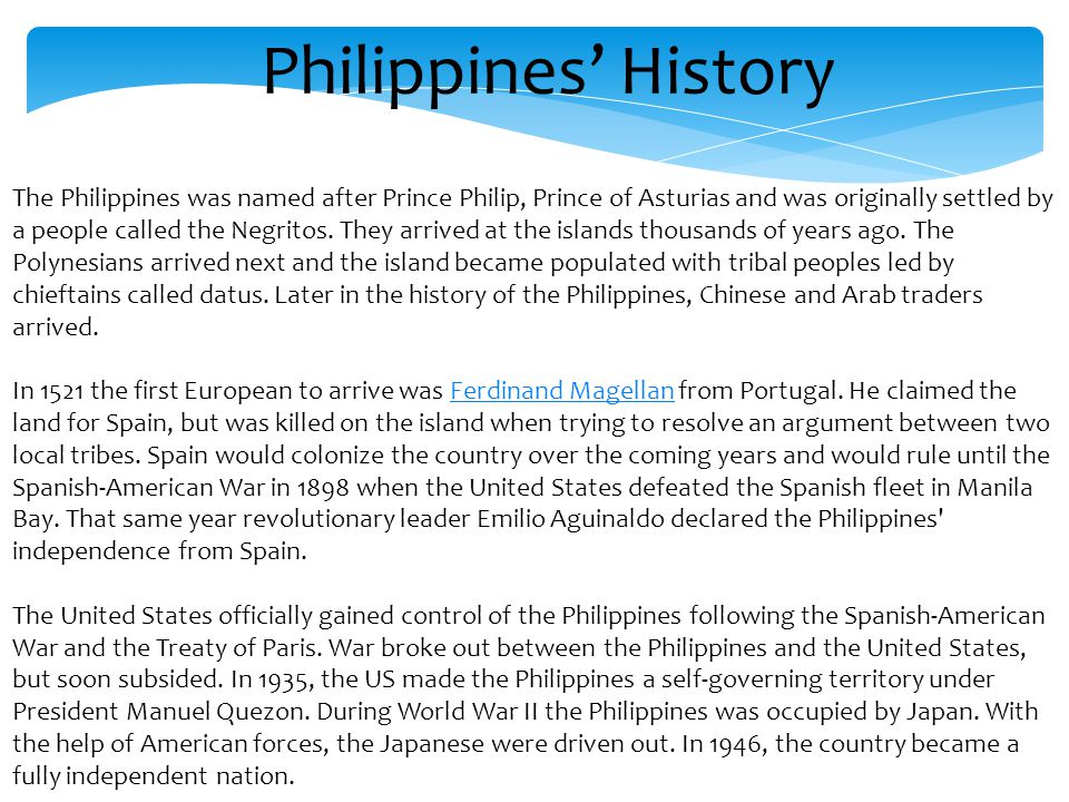 the history of the philippines A long history of migration is deeply ingrained in the social, economic, and cultural climate of the philippines as one of the largest origin country for migrants, migration has greatly affected the philippines.