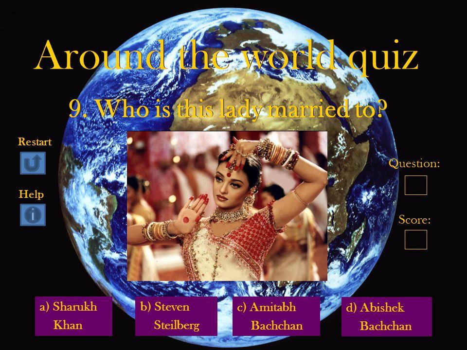 a) Sharukh Khan d) Abishek Bachchan b) Steven Steilberg c) Amitabh Bachchan Question: Score: Restart Help
