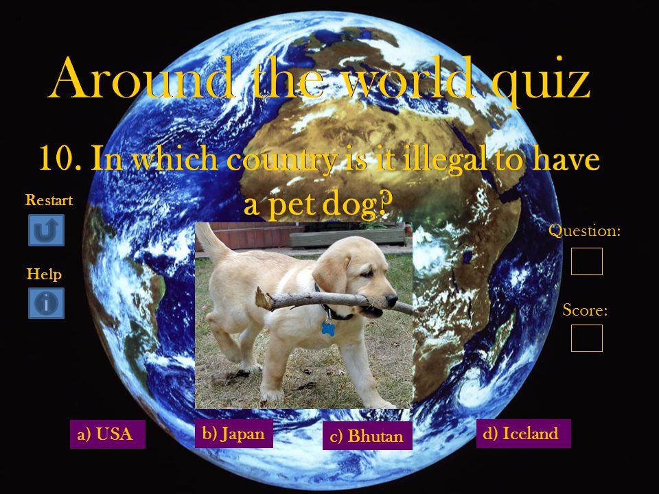 a) USA d) Iceland c) Bhutan b) Japan Question: Score: Restart Help