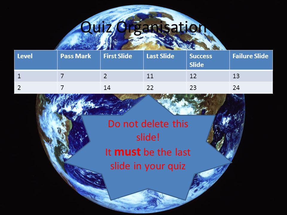 Quiz Organisation LevelPass MarkFirst SlideLast SlideSuccess Slide Failure Slide 172111213 2714222324 Do not delete this slide! It must be the last sl
