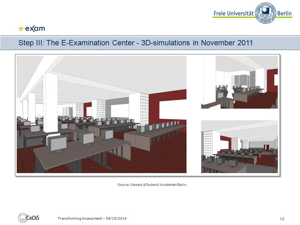 12 Transforming Assessment – 09/19/2014 Step III: The E-Examination Center - 3D-simulations in November 2011 Source: Gewers & Pudewill Architekten Ber