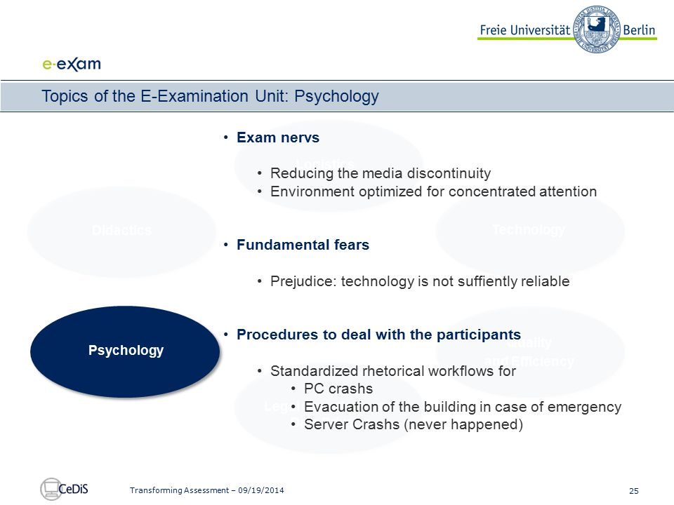 25 Transforming Assessment – 09/19/2014 Topics of the E-Examination Unit: Psychology Didactics Logistics Technology Gewährleisten von Systemsicherheit