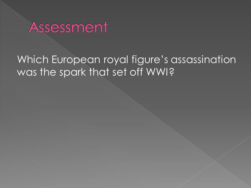Which European royal figure's assassination was the spark that set off WWI?