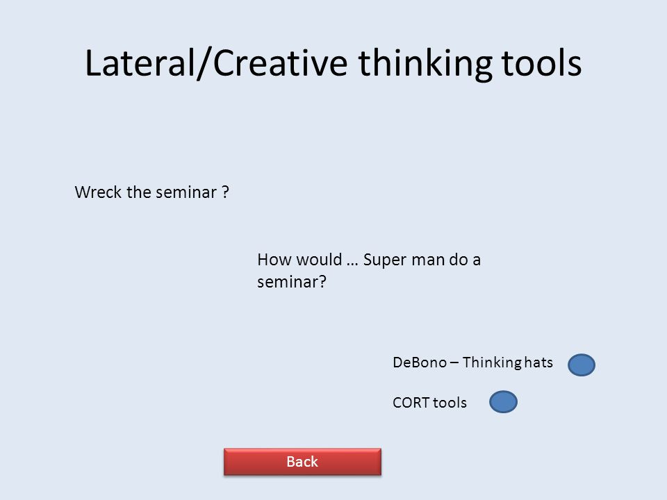 Lateral/Creative thinking tools Wreck the seminar .