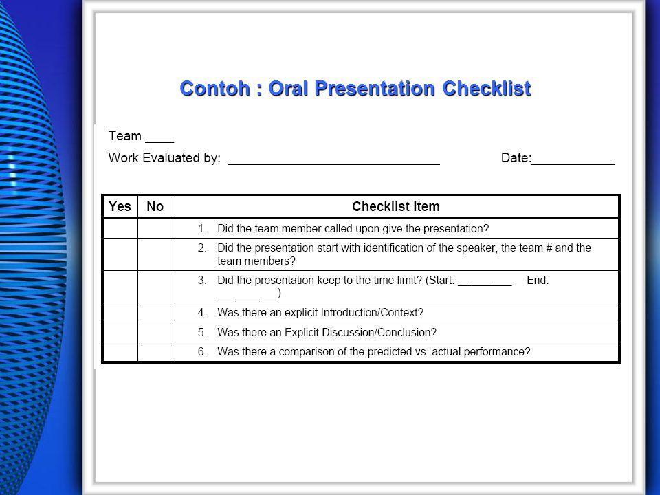 Contoh : Oral Presentation Checklist