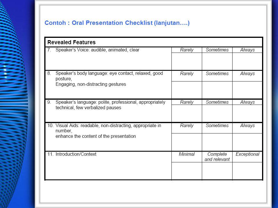Contoh : Oral Presentation Checklist (lanjutan….)