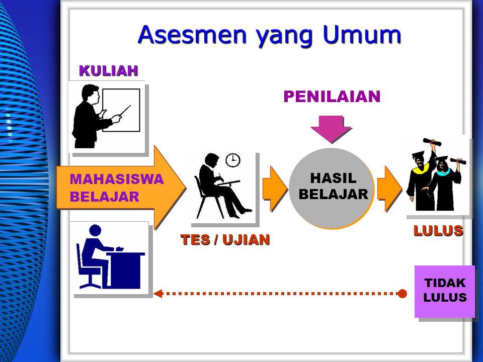 TIDAK LULUS HASIL BELAJAR MAHASISWA BELAJAR PENILAIAN TES / UJIAN LULUS KULIAH Asesmen yang Umum