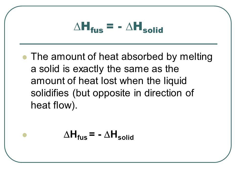 Heat of vaporization The amount of heat needed to vaporize one mole of a substance is called its molar heat of vaporization (  H vap ).