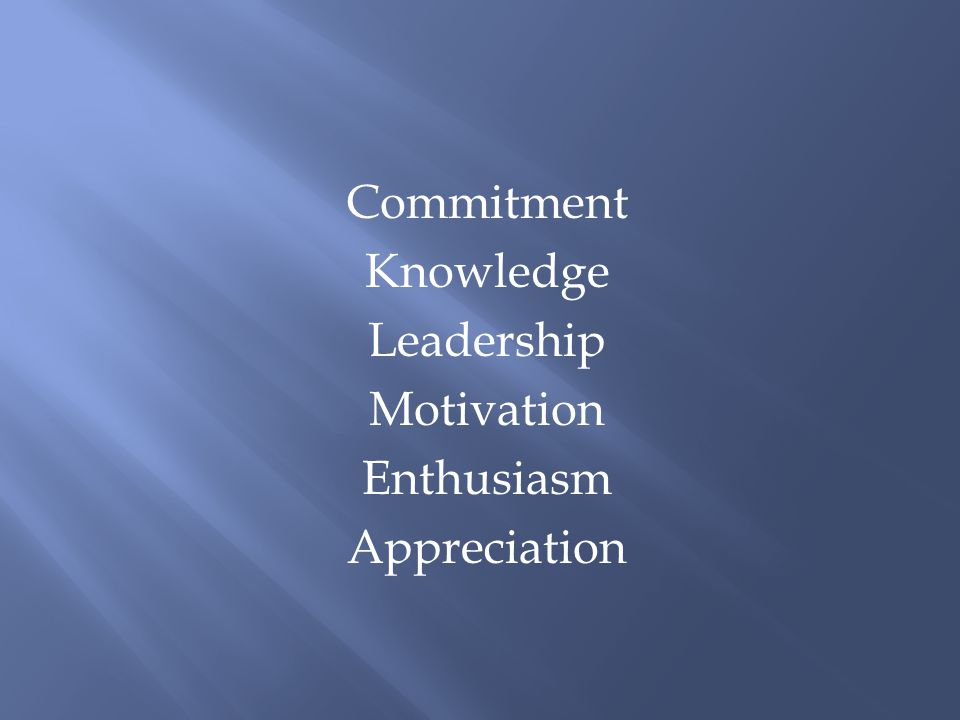 Commitment Knowledge Leadership Motivation Enthusiasm Appreciation