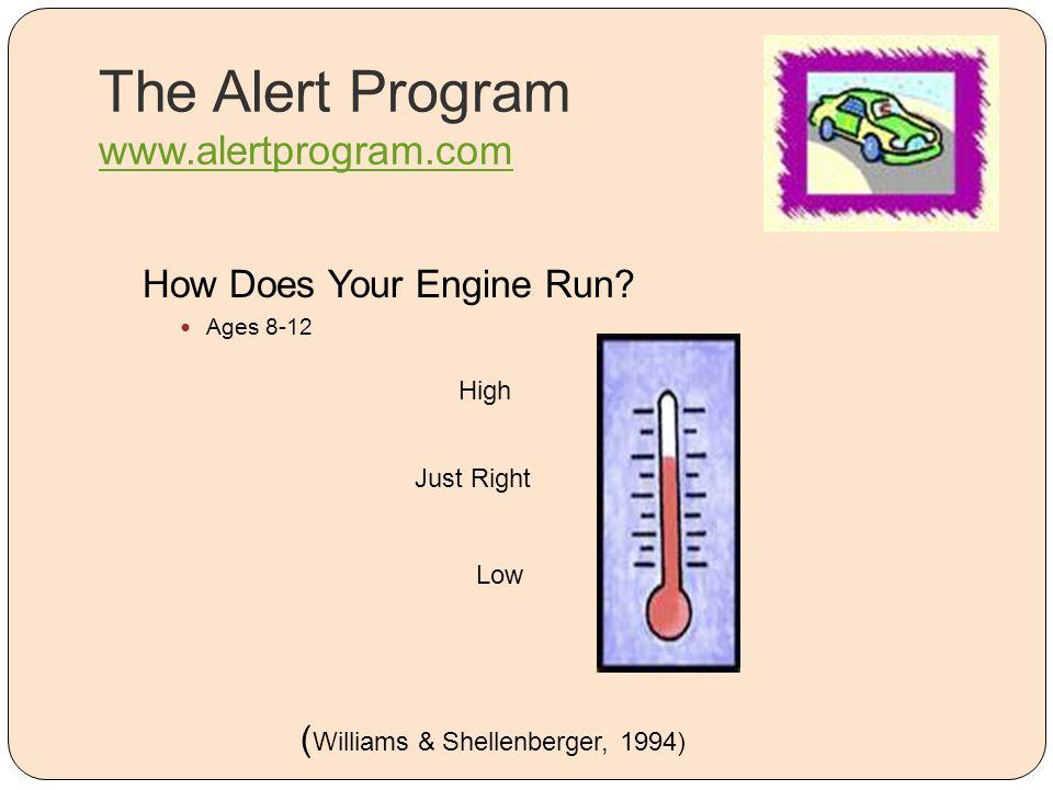 The Alert Program www.alertprogram.com www.alertprogram.com How Does Your Engine Run? Ages 8-12 High Low Just Right ( Williams & Shellenberger, 1994)