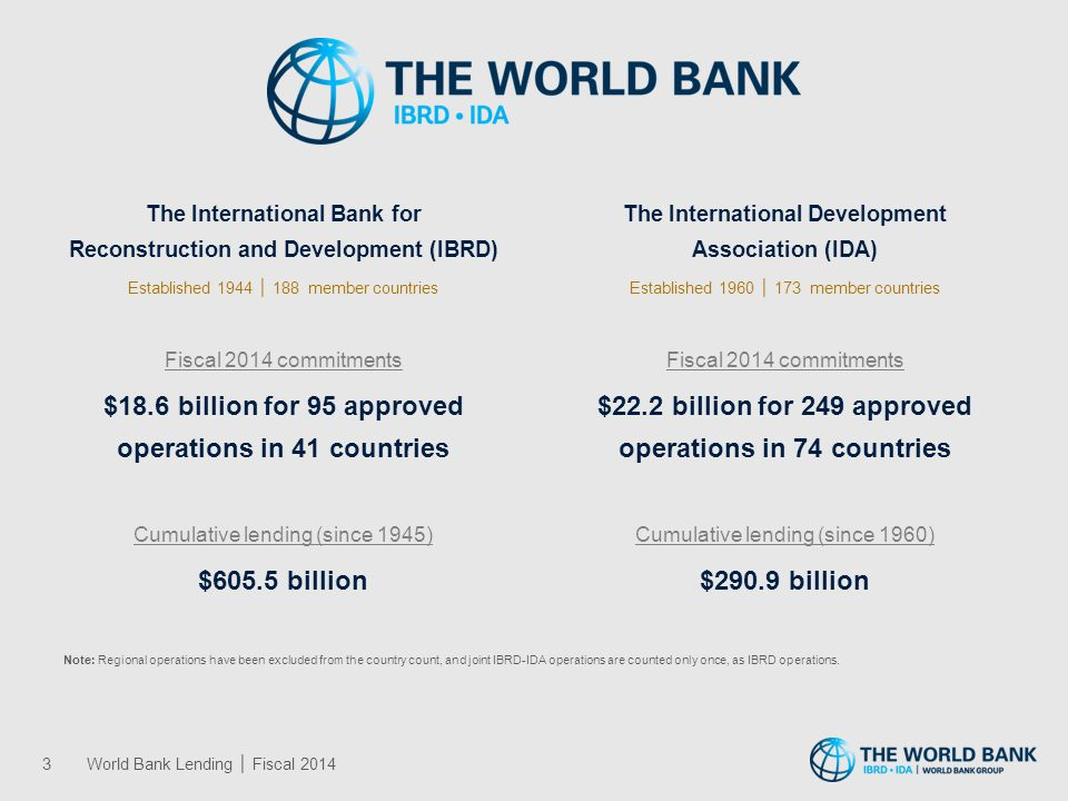 The International Bank for Reconstruction and Development (IBRD) Established 1944 │ 188 member countries Fiscal 2014 commitments $18.6 billion for 95