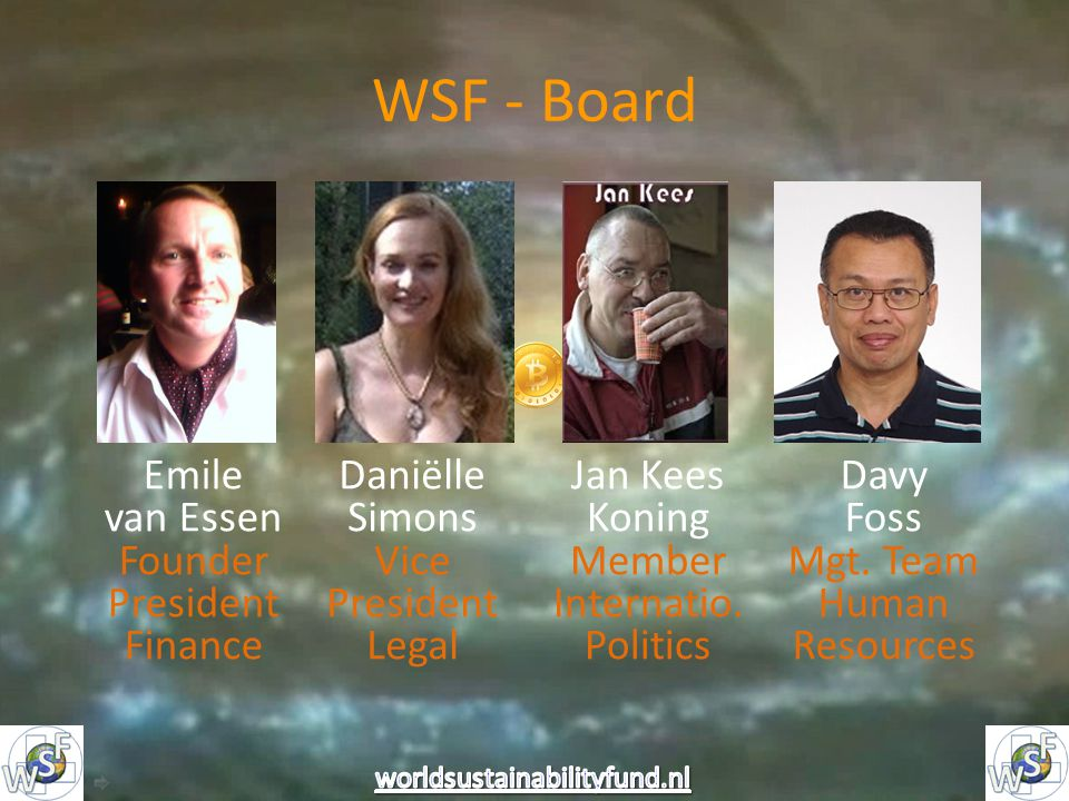 WSF - Board Emile van Essen Founder President Finance Daniëlle Simons Vice President Legal Jan Kees Koning Member Internatio.