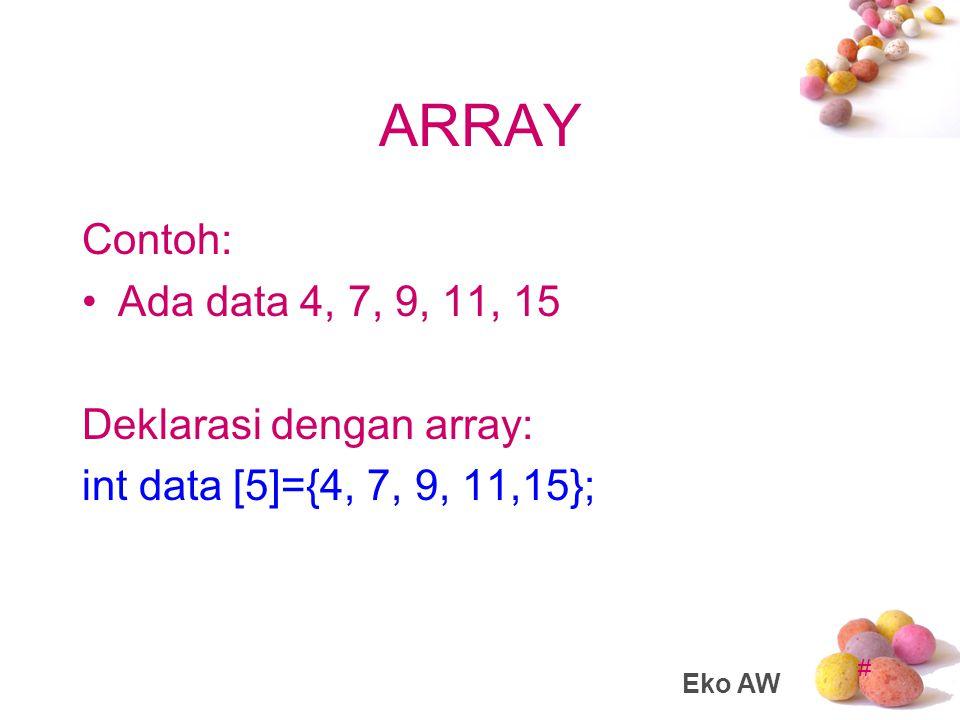 # ARRAY Letak atau posisi dari elemen array ditunjukkan oleh suatu index.