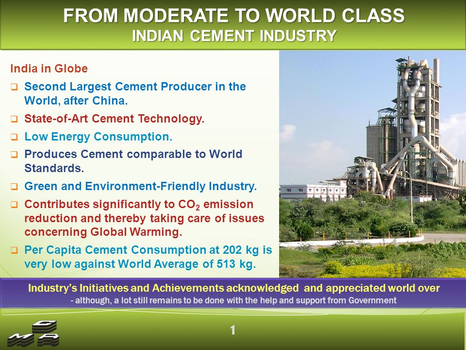 India in Globe  Second Largest Cement Producer in the World, after China.