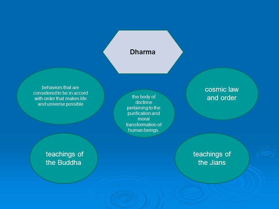 Dharma behaviors that are considered to be in accord with order that makes life and universe possible cosmic law and order teachings of the Buddha teachings of the Jians the body of doctrine pertaining to the purification and moral transformation of human beings.