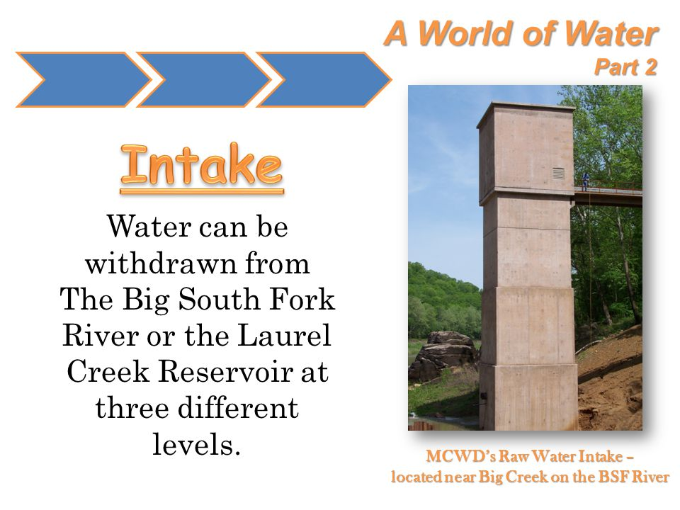 A World of Water Part 2 Water can be withdrawn from The Big South Fork River or the Laurel Creek Reservoir at three different levels. MCWD's Raw Water