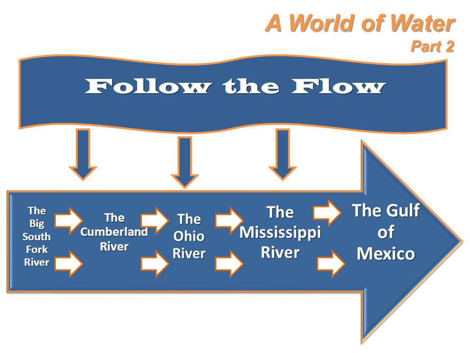 A World of Water Part 2 Follow the Flow The Gulf of Mexico The Mississippi River The Ohio River The Cumberland River The Big South Fork River