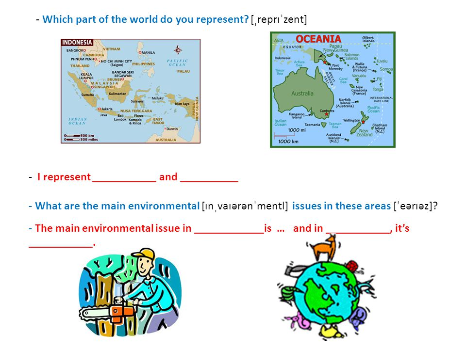 Let's practice in pairs.-Which part of the world do you represent [ˌreprɪˈzent] .