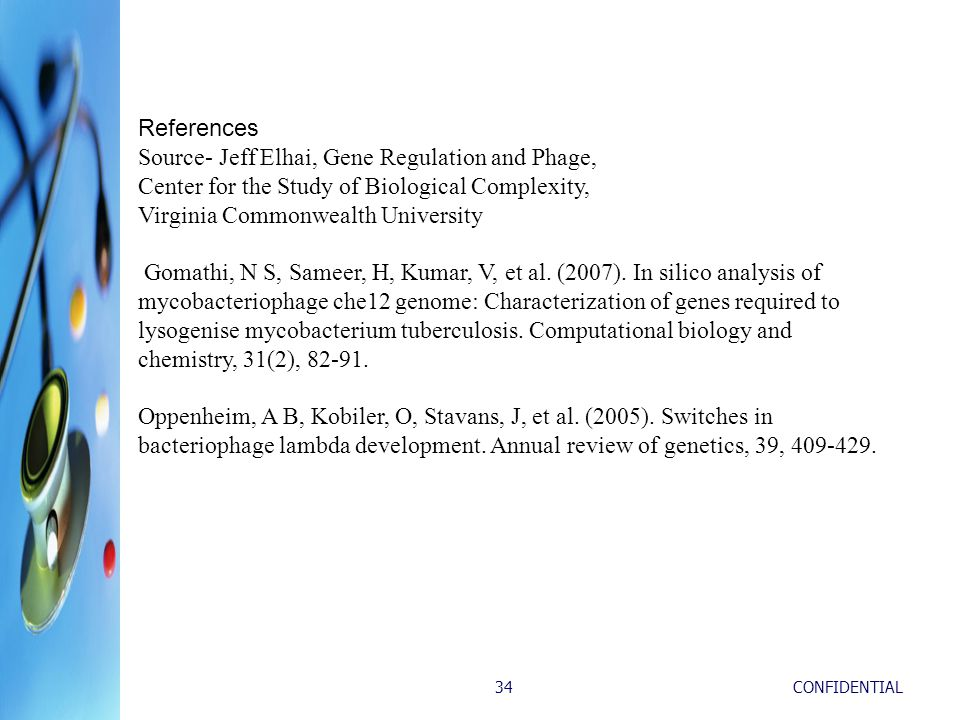 CONFIDENTIAL34 References Source- Jeff Elhai, Gene Regulation and Phage, Center for the Study of Biological Complexity, Virginia Commonwealth University Gomathi, N S, Sameer, H, Kumar, V, et al.