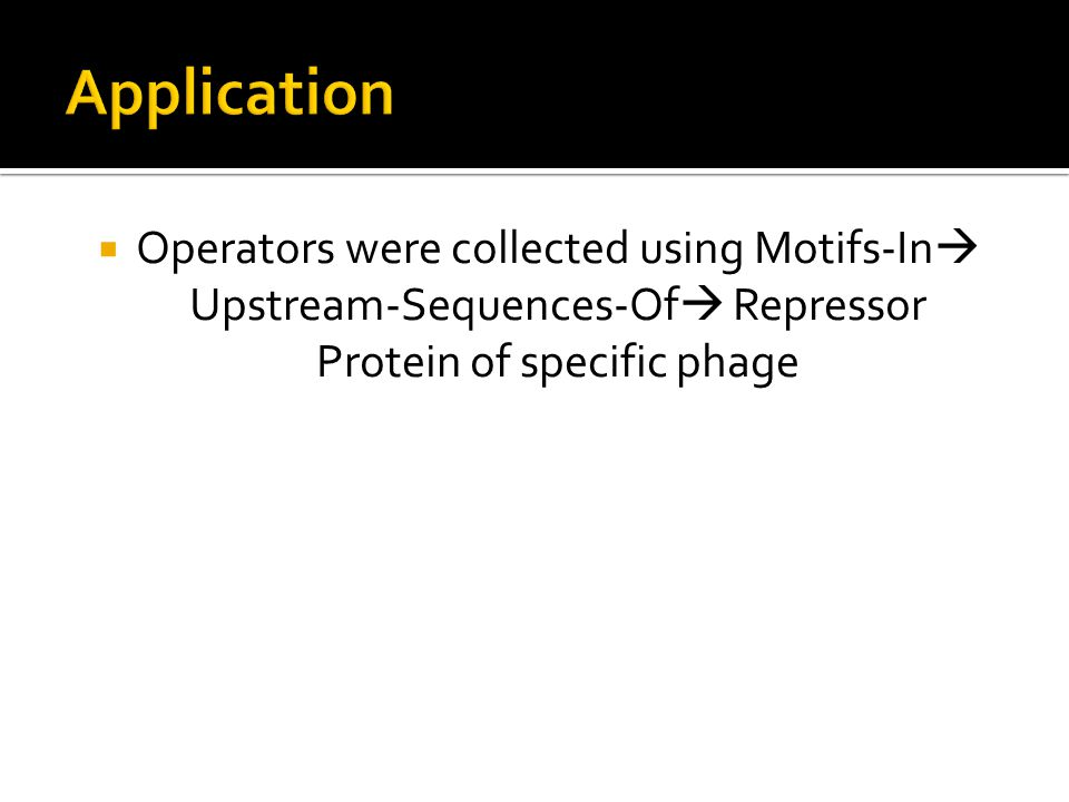  Operators were collected using Motifs-In  Upstream-Sequences-Of  Repressor Protein of specific phage
