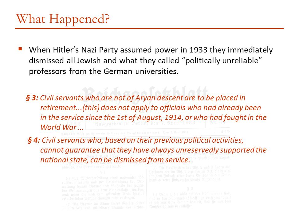 """ When Hitler's Nazi Party assumed power in 1933 they immediately dismissed all Jewish and what they called """"politically unreliable"""" professors from t"""