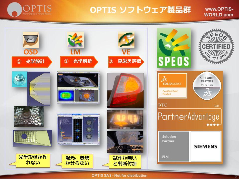www.OPTIS- WORLD.com OPTIS SAS - Not for distribution 5 LM ② 光学解析 OSD ① 光学設計 VE ③ 見栄え評価 光学形状が作 れない 配光、法規 が分らない 試作が無い と判断付加 OPTIS ソフトウェア製品群